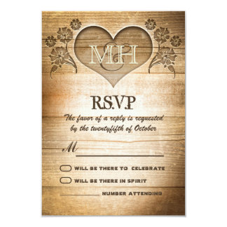 rustic wood country wedding RSVP 3.5x5 Paper Invitation Card