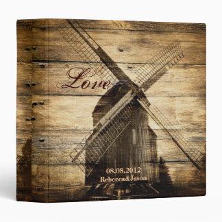 Rustic wood country windmill barn wedding 3 ring binder