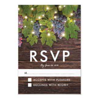 Rustic Wood Country Winery Lights Wedding RSVP Card