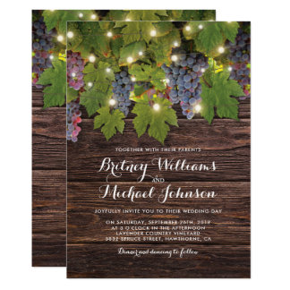 Rustic Wood Country Winery Twinkle Lights Wedding Card