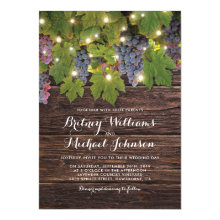 Rustic Wood Country Winery Twinkle Lights Wedding Invitation