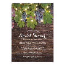 Rustic Wood Country Winery Wedding Bridal Shower Invites
