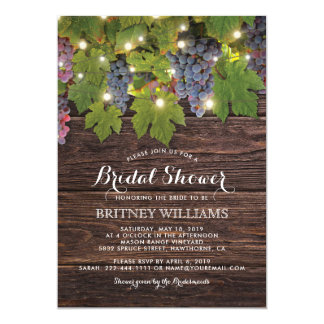 Rustic Wood Country Winery Wedding Bridal Shower Card