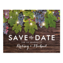 Rustic Wood Country Winery Wedding Save the Date Postcards