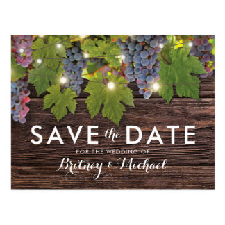Rustic Wood Country Winery Wedding Save the Date Postcard