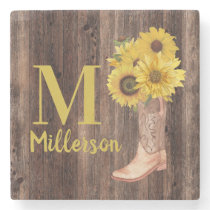 Rustic Wood Cowgirl Boots Sunflowers Monogram Stone Coaster