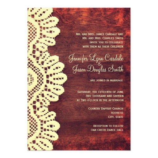 Rustic Wood Cream Lace Fall Wedding Invitations