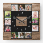 Rustic Wood Create Your Own 12 Photo Collage Square Wall Clock