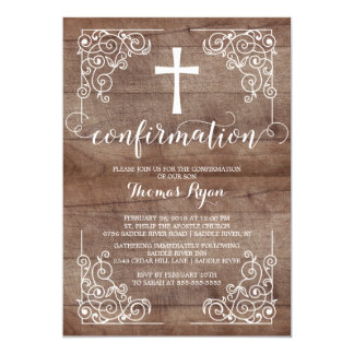 Rustic Wood Cross Confirmation Invitation