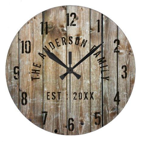 Rustic Wood Custom Family Name Farmhouse Large Clock