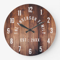Rustic Wood Custom Family Name Farmhouse Large Clock