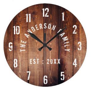 5002b938747d Rustic Wood Custom Family Name Farmhouse Large Clock