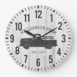 RUSTIC WOOD CUSTOM FAMILY NAME VINTAGE TRUCK WOOD LARGE CLOCK