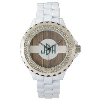 Rustic Wood Custom Monogram White Enamel Watch