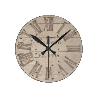 Rustic wood custom wall clock