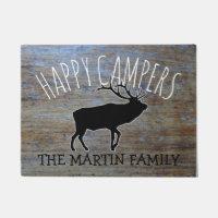 Rustic Wood Cute Camping Elk    Happy Campers Doormat