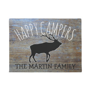 Beau Rustic Wood Cute Camping Elk | Happy Campers Doormat