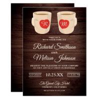 Rustic Wood Cute Coffee Mugs Wedding Invitation