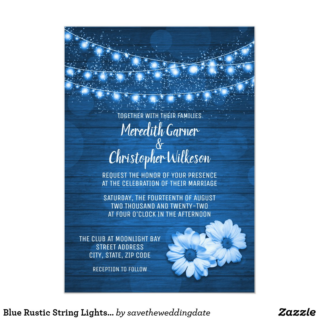 Rustic Wood Daisy Flowers String Lights Card