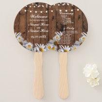 Rustic Wood Daisy Wedding Programme Hand Fan