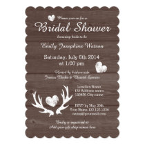 Rustic wood deer antler bridal shower invitations