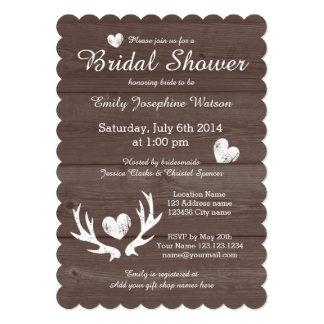Rustic wood deer antler bridal shower invitations