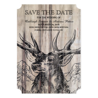"""Rustic Wood   Deer Save the Date 5"""" X 7"""" Invitation Card"""