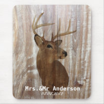 rustic wood deer the hunt is over mr and mrs mouse pad