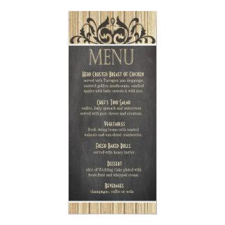 Rustic Wood Dinner Menu | blonde chalkboard Card