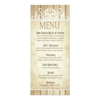 Rustic Wood Dinner Menu | blonde white Card