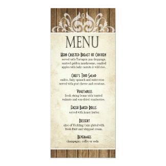 Rustic Wood Dinner Menu | brown white Card