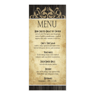 Rustic Wood Dinner Menu | ebony tan Card