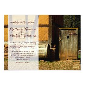 Rustic Wood Door Heart Country Wedding Invitation 4.5