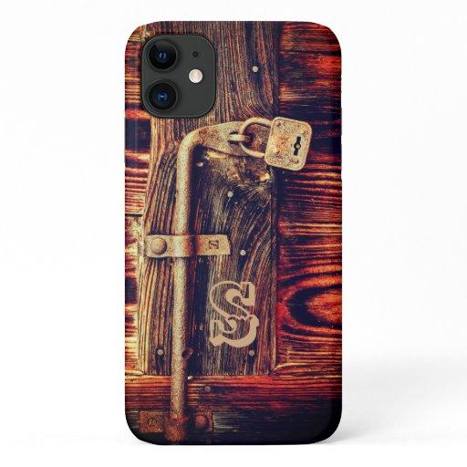 Rustic wood door with antique brass lock iPhone 11 case
