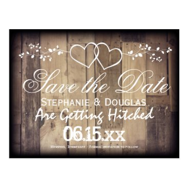 RusticCountryWedding Rustic Wood Double Hearts Save the Date Postcards