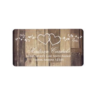 Rustic Wood Double Hearts Wedding Address Labels