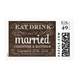 Rustic Wood Eat Drink be Married Wedding Postage