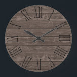 "Rustic Wood Effect Brown Large Clock<br><div class=""desc"">A rustic wood effect (not real wood) design round wallclock with Roman numerals in black.</div>"