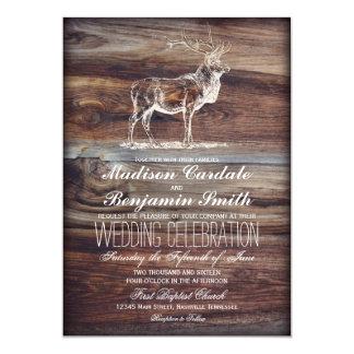 Rustic Wood Elk Wildlife Wedding Invitations
