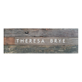 Rustic Wood Employee Staff Magnetic Name Tag Badge