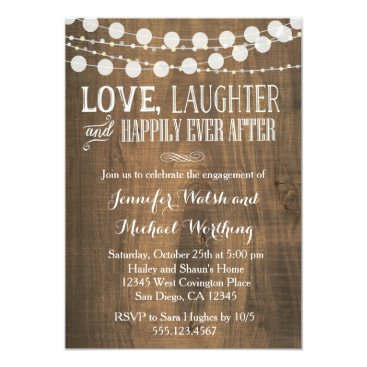 seasidepapercompany Rustic Wood Engagement Party Invitation