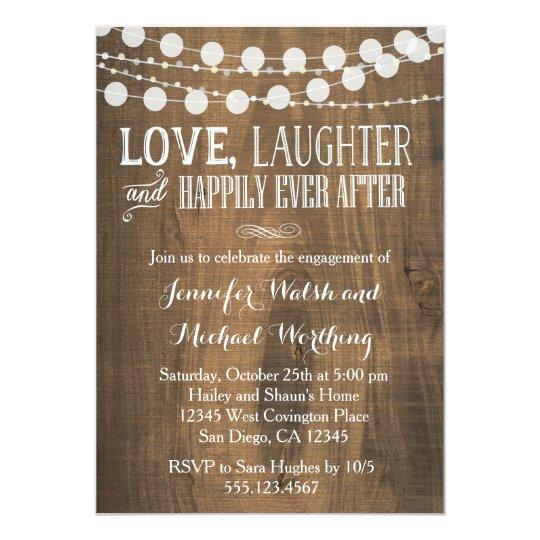 rustic wood engagement party invitation. Black Bedroom Furniture Sets. Home Design Ideas