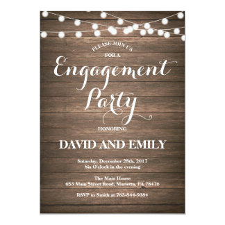 Rustic Wood Engagement Party Invitation Card