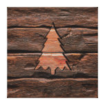 Rustic Wood Engraved Evergreen Texture Canvas Print