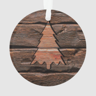 Rustic Wood Engraved Evergreen Texture Ornament