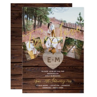 Rustic Wood Engraved Heart PHOTO COLLAGE WEDDING Invitation