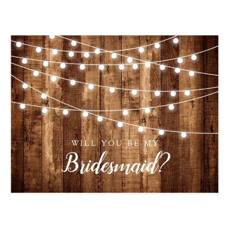 Rustic Wood & Fairy Lights Bridesmaid Proposal Postcard
