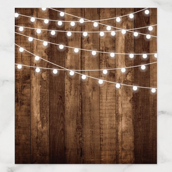 Rustic Wood & Fairy Lights Drop In Envelope Liner