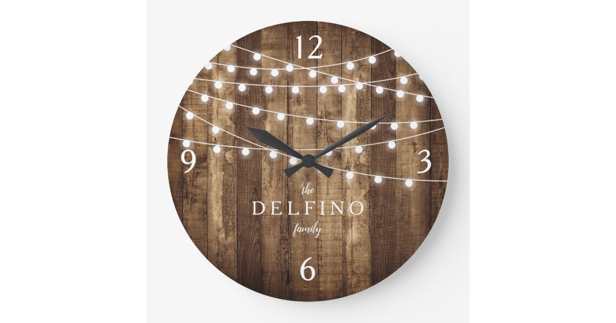 Rustic Wood Fairy Lights Farmhouse Kitchen Custom Large Clock Zazzle Com