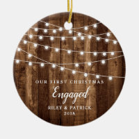 Rustic Wood Fairy Lights First Christmas Engaged Ceramic Ornament